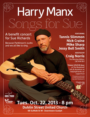 'Songs for Sue' Oct 22/13 concert details
